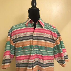 Orvis Men's Medium Short Sleeve Striped Blue Shirt